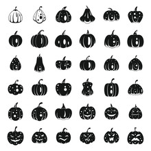 Farm Pumpkin Icons Set. Simple...