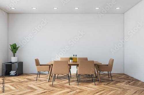 Fototapeta White minimalistic dining room interior obraz