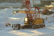 Large Crawler Crane Works At A...