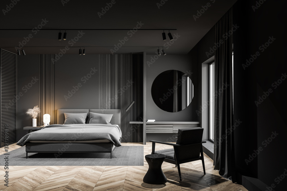 Fototapeta Gray master bedroom interior with makeup table