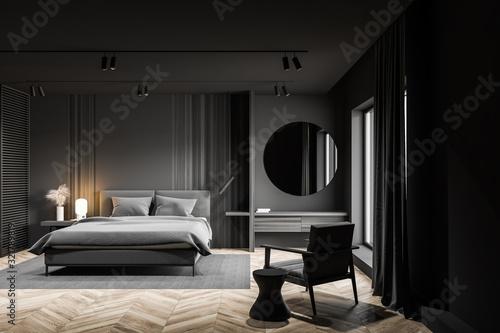 Obraz Gray master bedroom interior with makeup table - fototapety do salonu