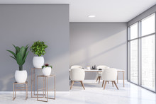 Light Gray Dining Room With Po...
