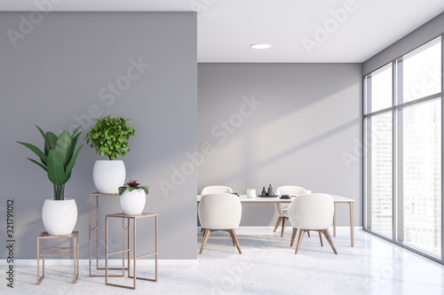Fotografía Light gray dining room with potted plants