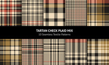 Tartan Plaid Pattern Set. Seamless Check Plaid Graphic In Nearly Black, Gold, And Orange Red For Scarf, Blanket, Throw, Dress, Jacket, Coat, Or Other Modern Autumn Winter Fabric Design.