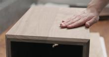 Man Hand Touches Black Walnut Storage Box
