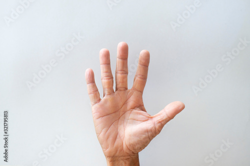 Fotografía Palms and fingers of the elderly showing gestures on a white background