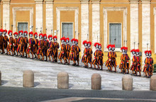 Changing Of Swiss Guards At A Side Entry Next To St.Peter Basilica  In Vatican City.