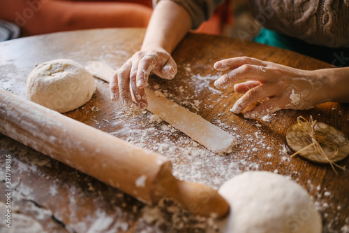 homemade, pastry, hands, wooden table, rolling pin, flour, baker, knead, delicio Wallpaper Mural
