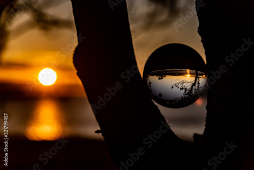 Fotografie, Obraz Dusk reflected in crystal ball