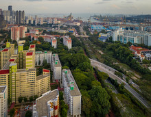 Singapore HDB Residential Area, Public Housing Near Central South Of The Lion City