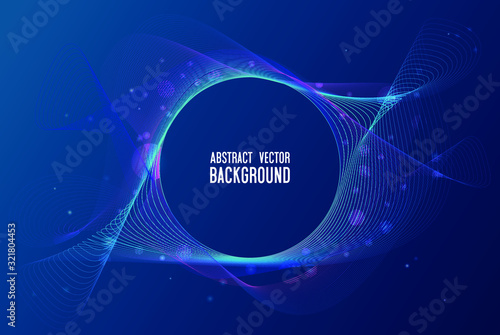 Valokuva Modern vector illustration with a deformed circle shape of the particles of blue and purple color on a dark background