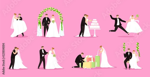 Fotomural Newlywed, just married couple, bride and groom vector illustration wedding, marriage set