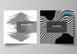 The minimal vector illustration of editable layout of two square format covers design templates for brochure, flyer, magazine. Abstract big data visualization concept backgrounds with lines and cubes.
