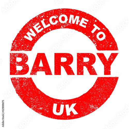 Rubber Ink Stamp Welcome To Barry UK Wallpaper Mural