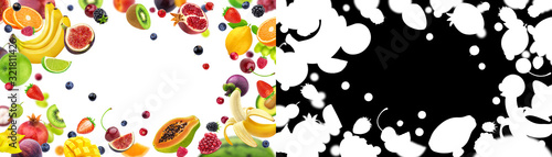 Photo Frame of fruits and berries with alpha channel