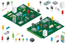 Electronic Hardware Components And Integrated Circuit Board Isometric Vector Illustration Isolated On White