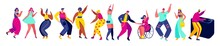 Dancing People Hand Draw Isolated Cartoon Characters, Vector Illustration. Men And Women Dance At Party, Fun Club Music Active Leisure. Funny Cartoon Characters People Modern Style. Girls, Boys Party