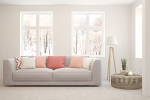 Stylish Room In White Color Wi...