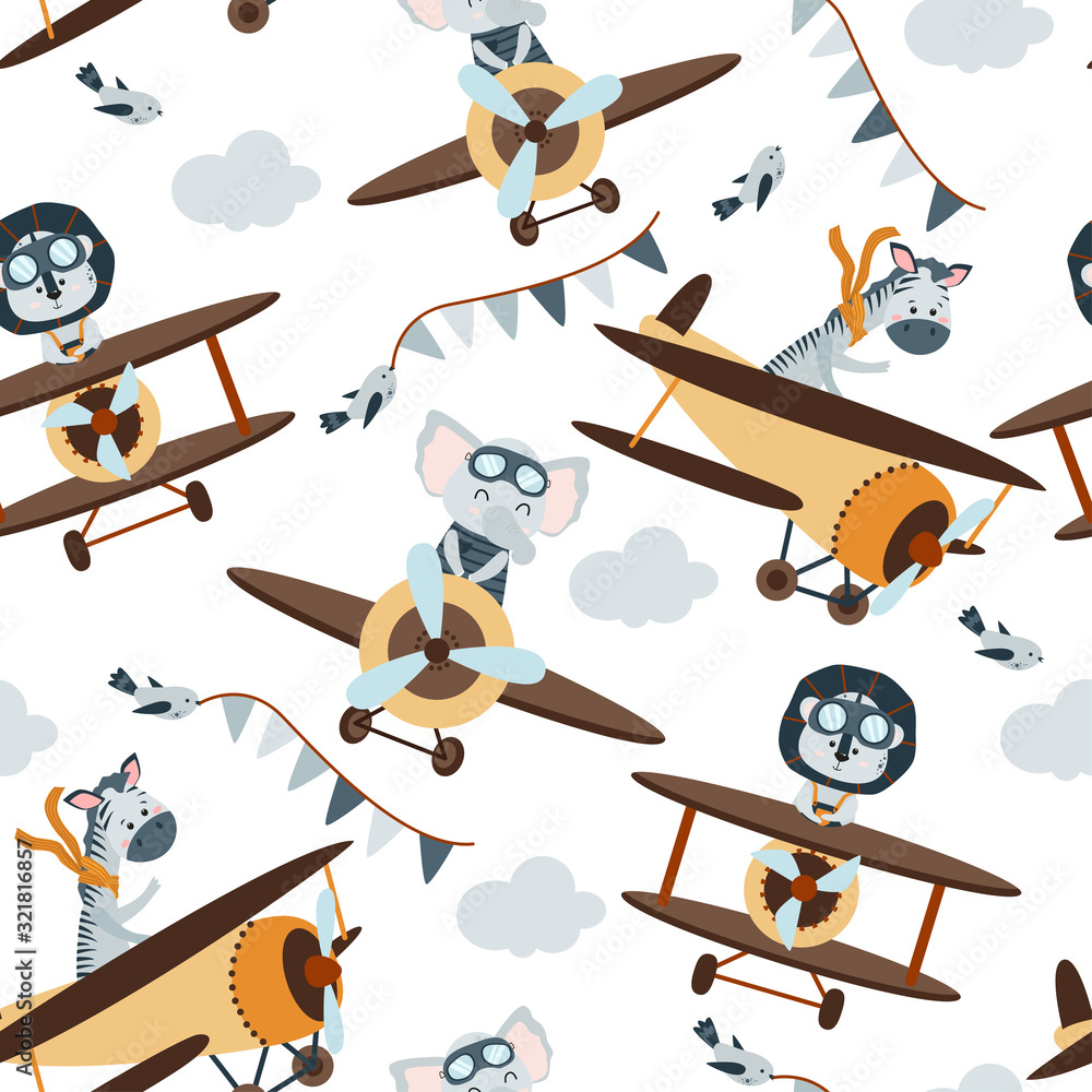 Fototapeta seamless pattern with aviator animals in the sky - vector illustration, eps