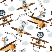 Seamless Pattern With Aviator Animals In The Sky - Vector Illustration, Eps