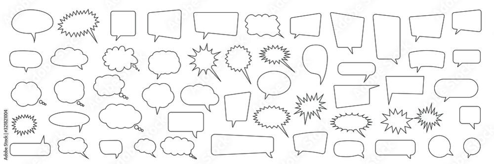 Fototapeta Speech bubble, speech balloon, chat bubble line art vector icon for apps and websites