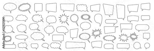Obraz na płótnie Speech bubble, speech balloon, chat bubble line art vector icon for apps and web