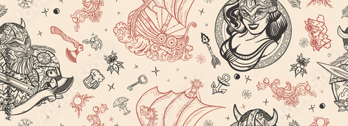 Vikings seamless pattern Wallpaper Mural