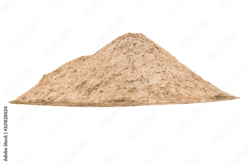Obraz A large mound of sand for construction isolated on a white background. fototapeta, plakat