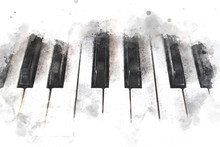 Abstract Colorful Piano Keyboard On Watercolor Illustration Painting Background.