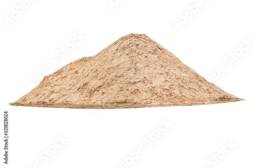 Fototapeta A large mound of sand for construction isolated on a white background. obraz