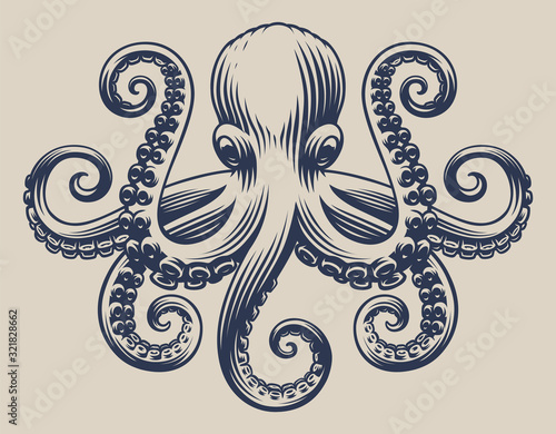 Slika na platnu Vintage illustration with an octopus for seafood theme