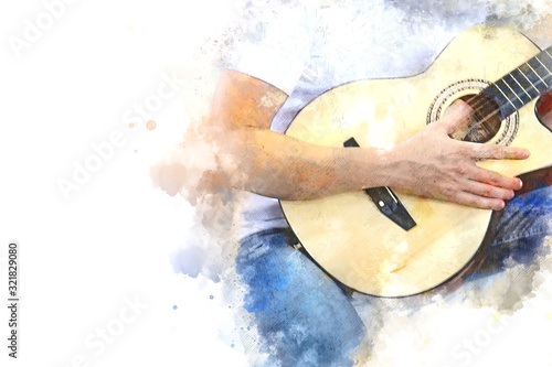 Obraz na plátně Abstract beautiful man guitarist playing acoustic guitar in the foreground on Watercolor painting background and Digital illustration brush to art