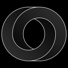 Impossible Circle Icon. White Vector Optical Illusion Shape On Black Background.