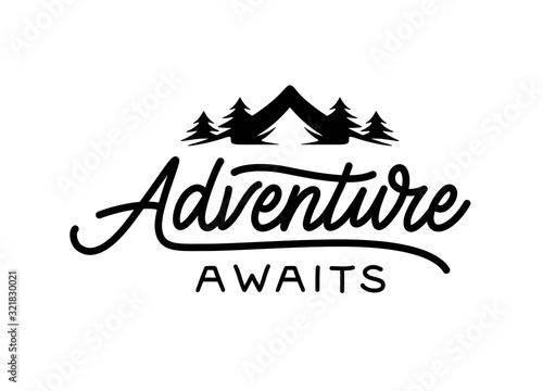 Photo Adventure awaits modern lettering tempate. Vector illustration.