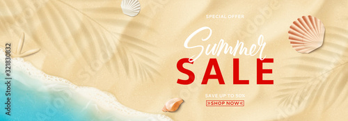 Photo Summer sale horizontal banner template
