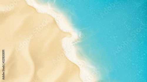 Top view on sea beach. Top view on ocean beach with soft waves. Vector illustration. - 321830891