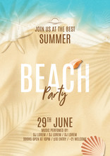Summer Beach Party Flyer Template. Vector Illustration With Top View On Ocean Scene With Seashells, Soft Waves And Plant's Shadows. Invitation To Nightclub.