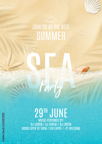 Fototapeta Summer sea party poster template. Vector illustration with top view on ocean scene with seashells, soft waves and plant's shadows. Invitation to nightclub. obraz