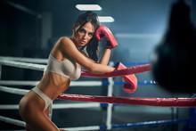 Female Boxer Posing In Red Glo...