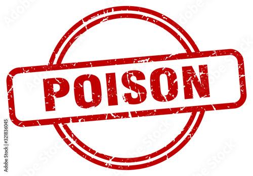 Cuadros en Lienzo poison stamp. poison round vintage grunge sign. poison
