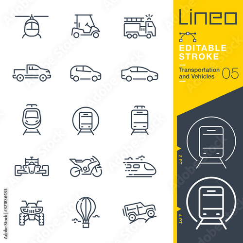 Lineo Editable Stroke - Transportation and Vehicles outline icons Wallpaper Mural