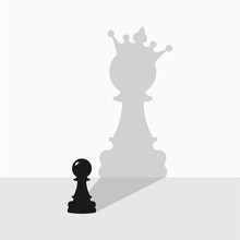 Black Pawn With A Shadow In Th...