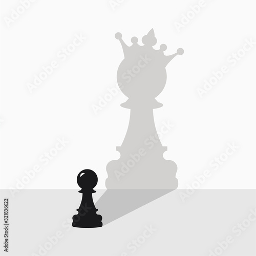 Fototapeta Black pawn with a shadow in the form of a queen on a gray background