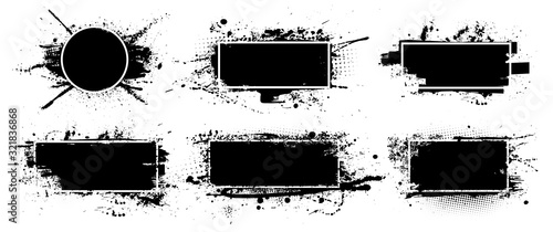 Obraz Black grunge with frame for text. Dirty artistic design elements, boxes, frame for text, Vector splashes isolated on white background. Set of black paint, ink brush strokes, brushes, lines. Vector set - fototapety do salonu