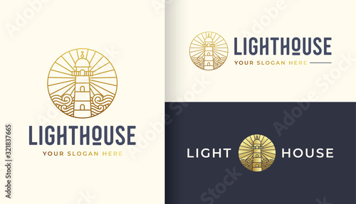 Lighthouse line art logo design