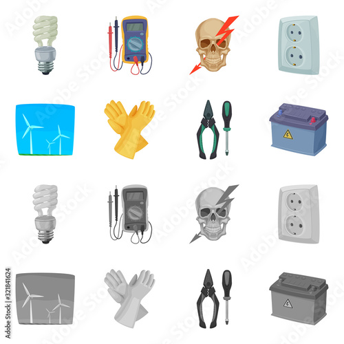 Fotografie, Obraz Isolated object of electricity and electric logo