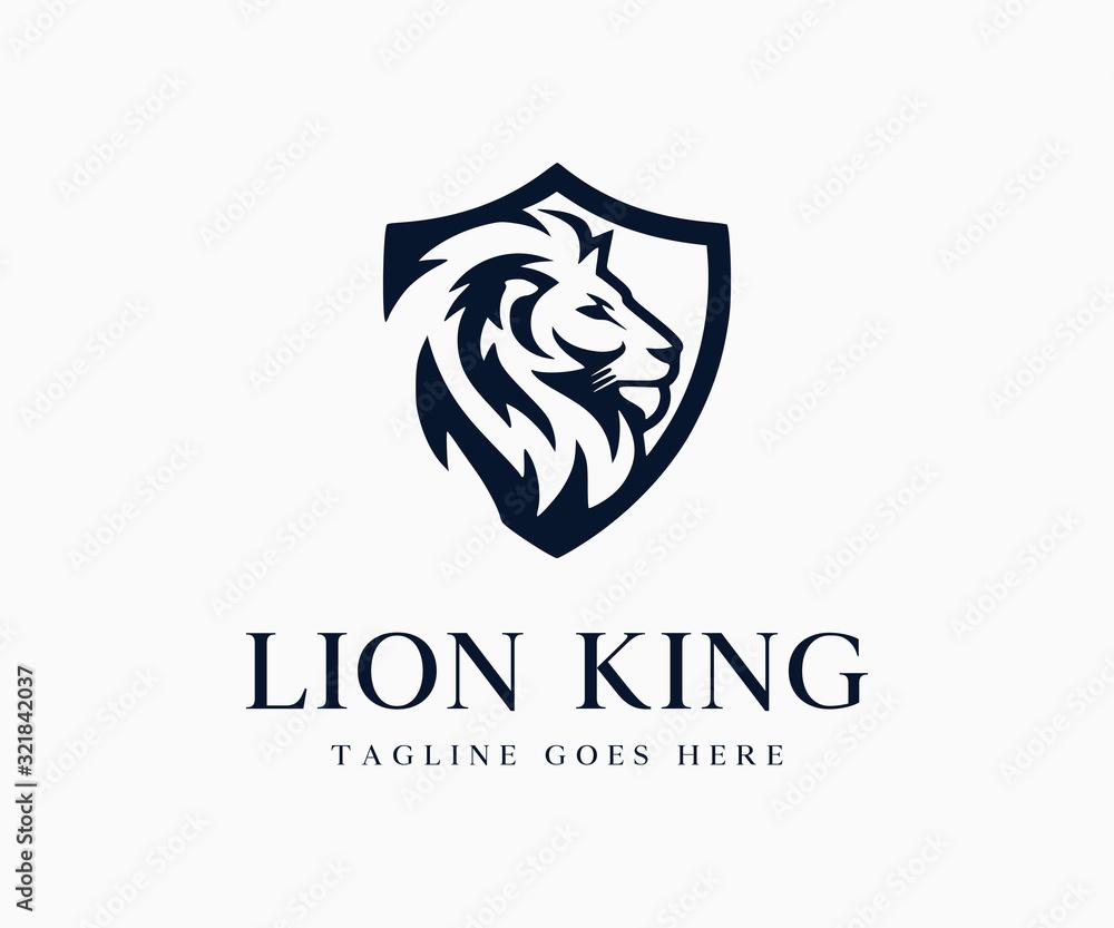 Fototapeta Luxury King Lion Logo Icon Vector Illustration Template