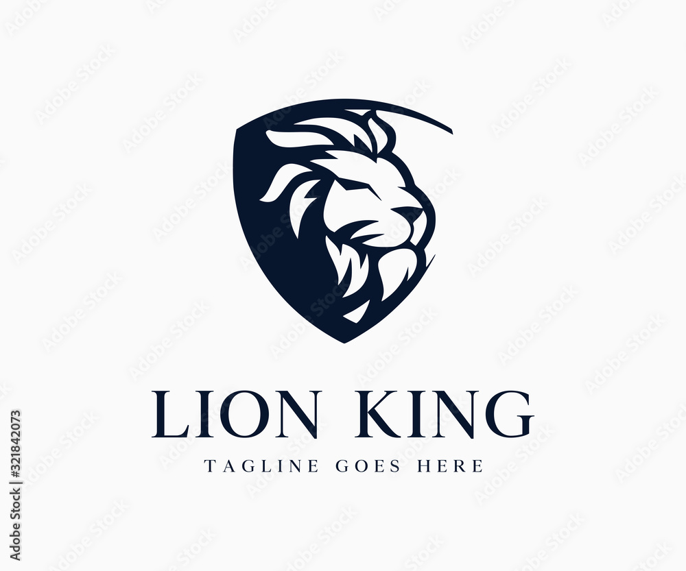 Fototapeta Luxury King Lion Logo Icon Vector Illustration Template