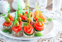 Assorted Canapes With Salmon O...