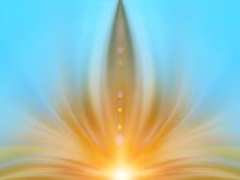 Abstract Energy Flower In Blue Sky. Background For Text: Yoga, Aura, Light, Magic, Hypnosis, Meditation, Dream, Lotus, Harmony, Mandala, Esoteric - Concept.